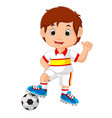 cartoon child playing football vector image vector image