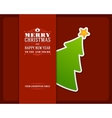 Christmas green tree invitation card vector image