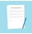 Contract or terms and conditions document isolated vector image vector image