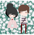 cute couple cartoon in flower seamless pattern vector image vector image