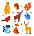 cute forest animals - flat design style set of vector image