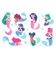 cute mermaid cartoon sea princess with fish tail vector image vector image