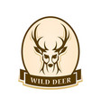 deer head outline silhouette stylized badge vector image