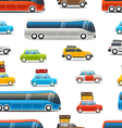 Different color cars and bus Seamless backg vector image vector image