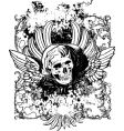 Evil angel grunge skull illustration