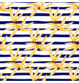 fashion leaves seamless pattern on blue stripes vector image vector image