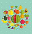 Fruits on a blue background with polka dots vector image