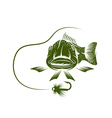 funny trout and lure design template vector image vector image