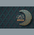 golden moon and lettering eid mubarak vector image