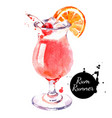 hand drawn sketch watercolor cocktail rum runner vector image