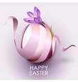 Happy Easter greeting card template with flower vector image