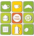 Icons Tea Time Set of 9 icons shadows effect vector image