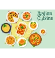 Italian cuisine pizza and pasta dishes icon vector image
