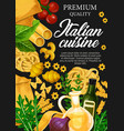 italian cuisine with pasta and herbs vector image vector image