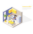 kitchen diet isometric composition vector image