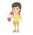 little caucasian girl holding a red-white lifebuoy vector image vector image