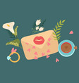 love envelope hand written letter with flowers vector image