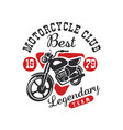 motorcycle club logo best legendary team design vector image vector image