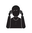 person wearing headphones black concept vector image vector image