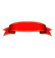 red ribbon banner satin blank design label vector image