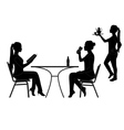 restaurant silhouettes vector image vector image