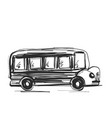 school bus icon outlined on white background vector image vector image