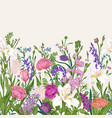 seamless floral border blooming colorful vector image