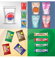 set of colored polyethylene pack for candy vector image