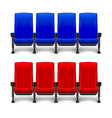 set of realistic comfortable movie chairs for vector image