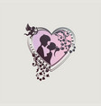 silhouette of a heart with decoration and vector image vector image