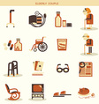 Special objects and equipments for pensioners life vector image vector image
