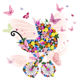 stroller of flowers and butterflies vector image vector image