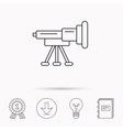 Telescope icon Spyglass sign vector image