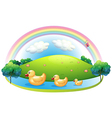 Three rubber ducks near the hill vector image vector image
