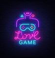 video games conceptual logo love game neon vector image vector image