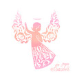 watercolor angel with floral wings and nimbus vector image vector image