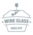 wine glass logo simple gray style vector image vector image