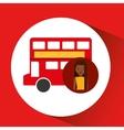 woman cartoon traveler london red bus icon vector image vector image