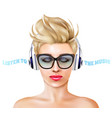 woman with headphones vector image vector image