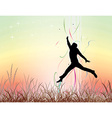 young man jumping on the field vector image