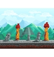 Stone statue pyramid in the emerald mountains vector image