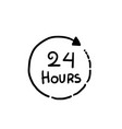 24 hours clock sign icon in hand drawn style vector image vector image