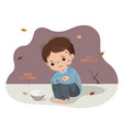 a poor boy begging with empty bowl vector image