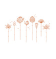 art deco line flowers