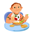 Baby eating porridge vector image vector image