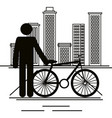 bicycle vehicle with human figure vector image vector image