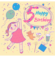 Birthday of the little girl 5 years vector image vector image