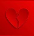 broken heart red 3d symbol vector image
