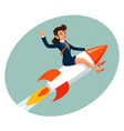 businesswoman space rocket ship female business vector image