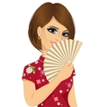 Chinese woman holding a fan vector image vector image